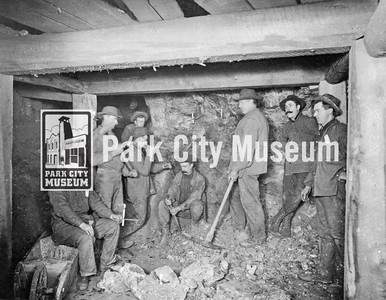 Miners in a stope, ca.1900s (Image: 2002-26-18, Kendall Webb Collection)