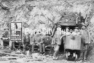 Miners outside the Woodside Tunnel, ca.1891 (Image: 2001-13-15, PCHS General Photographic Collection)