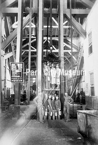 Miners pose in the cage at the Ontario Shaft #3. Photo by J.A. Crockwell, ca.1891. (Image: 2001-13-19 , PCHS Photograph Collection)
