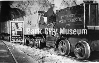 "Park City Consolidated Mines ""mancha mule"" locomotive, ca.1950s (Image: 2002-26-24, Kendall Webb Collection)"