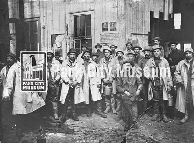 Men in their work clothes and slickers at the Ontario Mine, ca.1902 (Image: 2002-26-22, Kendall Webb Collection)