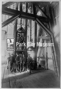 Miners in a double cage hoist at the Daly Mine, ca.1900 (Image: 1999-4-10, Park City Mountain Resort Collection)