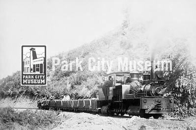 Train on the Crescent Tramway, built to carry ore and supplies to and from the Crescent Mine. Photo by J.A. Crockwell, ca.1891. (Image: 2001-13-16, PCHS Photograph Collection)
