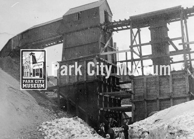 "Ore bins at the Silver King Consolidated Mine (""King Con""), no date. (Image: digi-2-4023, Himes-Buck Digital Collection)."