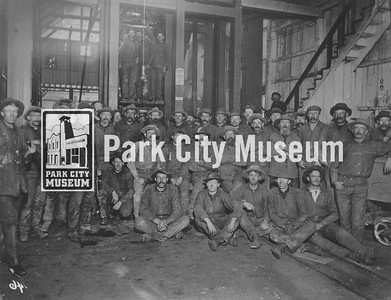 Men pose in front of the cages at an unknown mine (likely either the Ontario or Daly), ca.1890s. (Image: 1999-4-55, Park City Mountain Resort Collection)