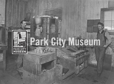 Men work the furnace at an assay office, ca.1900 (Image: digi-3-71, Jordanelle Special Service District Digital Collection)