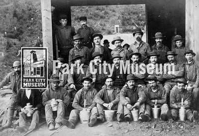 Miners at the Mayflower Mine. Photo by J.A. Crockwell, ca.1891. (Image: 2001-13-7, PCHS Photograph Collection)