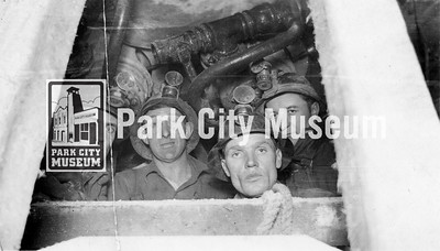 "George ""Shorty"" Sorensen (second from right) poses with fellow miners in a tunnel, ca.1936 (Image: 2009-36-166, Ella Sorensen Collection)"