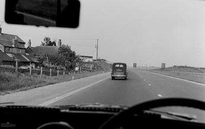 The opening of the M50 or Ross Spur. Riding with Dad in his 1958 Morris Minor Traveller the first day it was open!