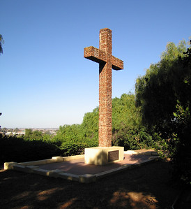 Cross made from brick from the old Mission.  Presidio Park, San Diego, 24 Nov 2007