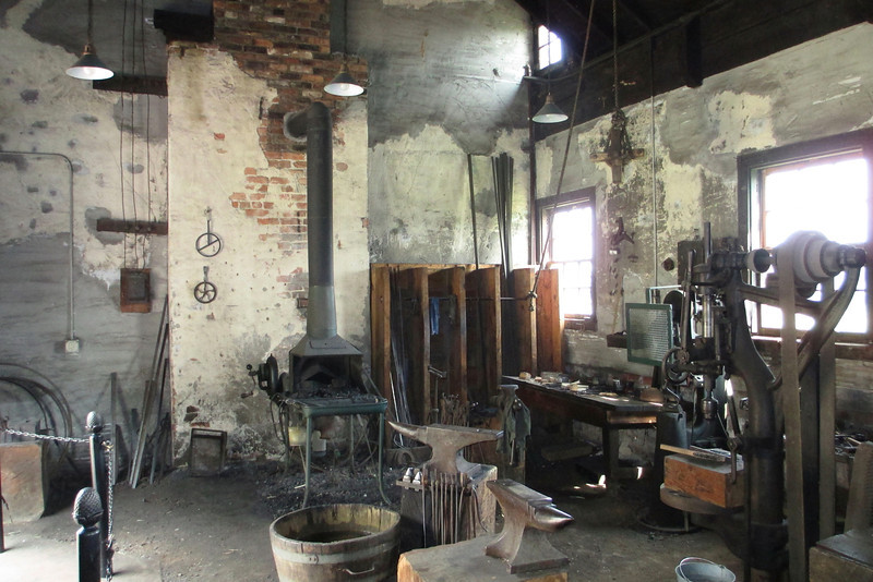 The old blacksmith shop at the farm sometimes has demonstrations going on, but not today...