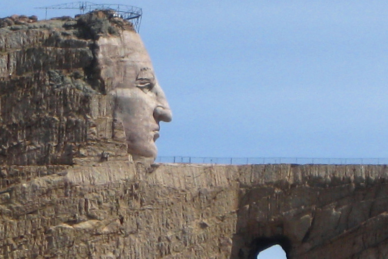 The face of Crazy Horse, completed in 1998 on the 50th Anniversary of the memorial, measures nearly 90' high...