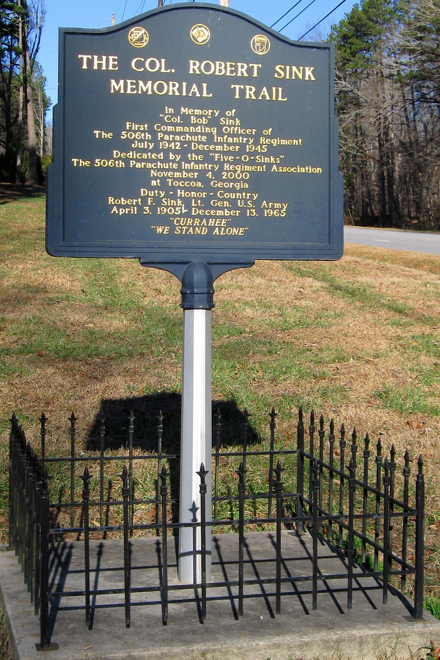 """This nice plaque honors the service of Col. Robert Sink, first commander of the 506th PIR (the <i>""""Five-O-Sinks""""</I>)..."""