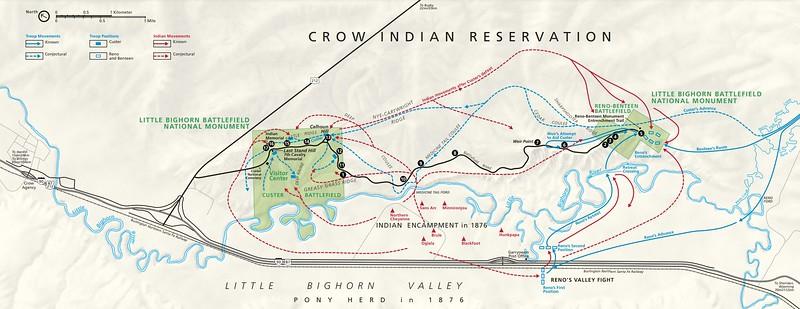 Little Bighorn Battlefield National Monument Map