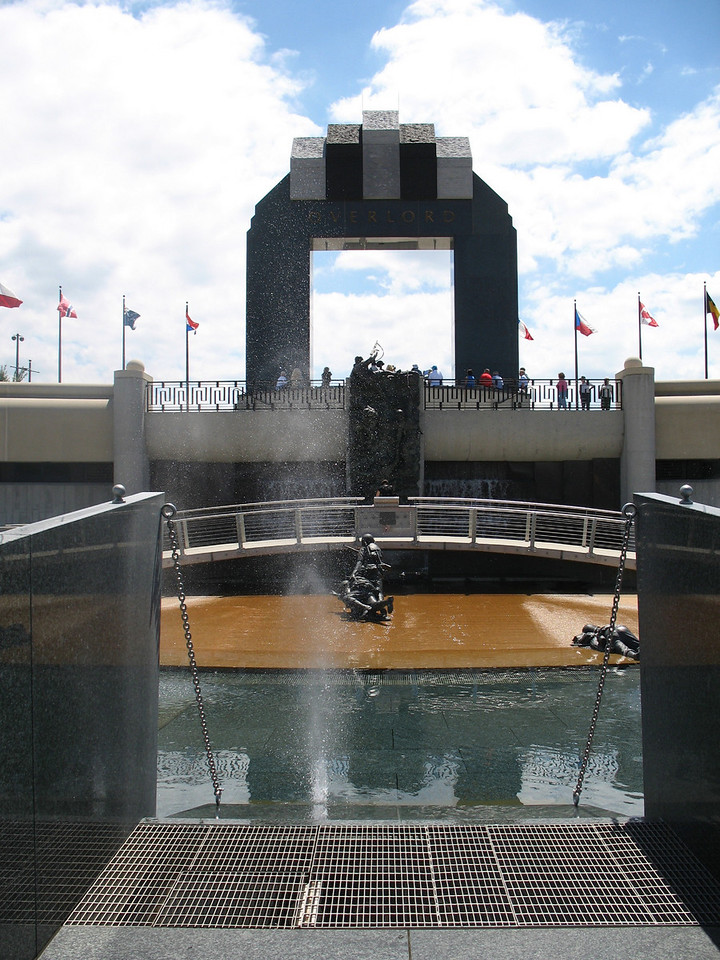 Landing Memorial - Higgins Boat - A bullet seems to hit the water in this symbolic view down the ramp of the Higgins Boat.