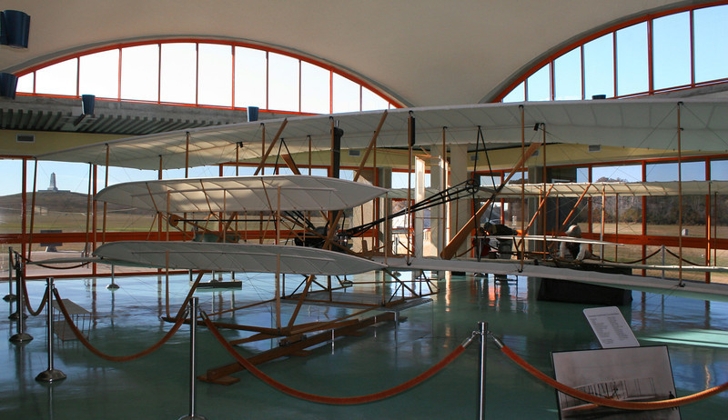 Inside the visitor center is a nice replica of the Wright Brothers plane...the real one is at the Smithsonian...