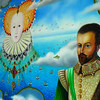 Sir Walter Raleigh (Ex-Governor of Jersey), Elizabeth 1st and a Jersey cow above the castle, depicted by a local artist.