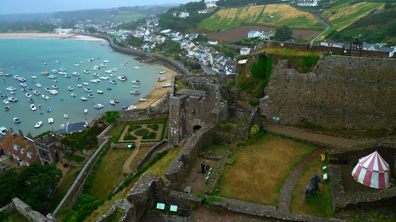 The grounds to the west, Gorey Village and towards Grouville Bay