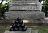 Civil War cannon balls, part of a Civil War Memorial.<br /> <br /> Oak Grove Cemetery, Chelsea, Michigan