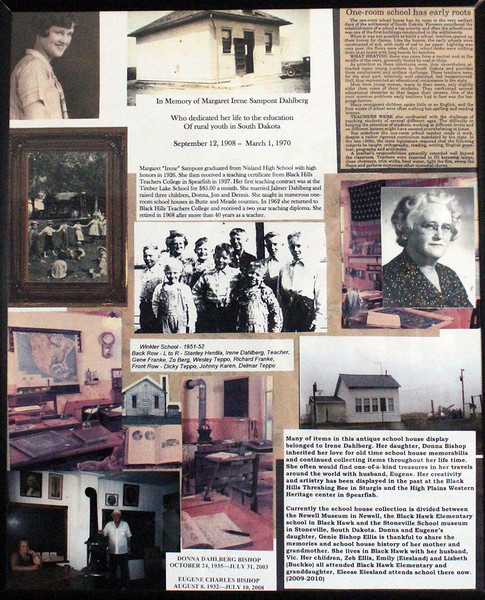 Put your cursor on the image, and you can select a larger version of this wall poster.  It offers a history of this school and similar schoolhouses in pioneer times.