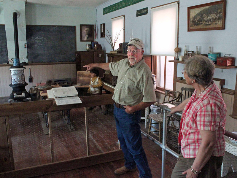 Don Matthesen points to one of the unique qualities of the old classroom.