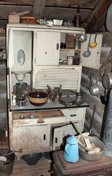 Flaigg cabin kitchen area.