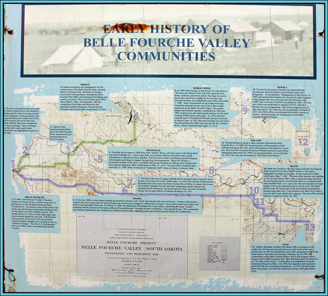 By choosing a larger image of this exhbit, you can read more about the many communities that benefitted from the Belle Fourche Irrigation Project.
