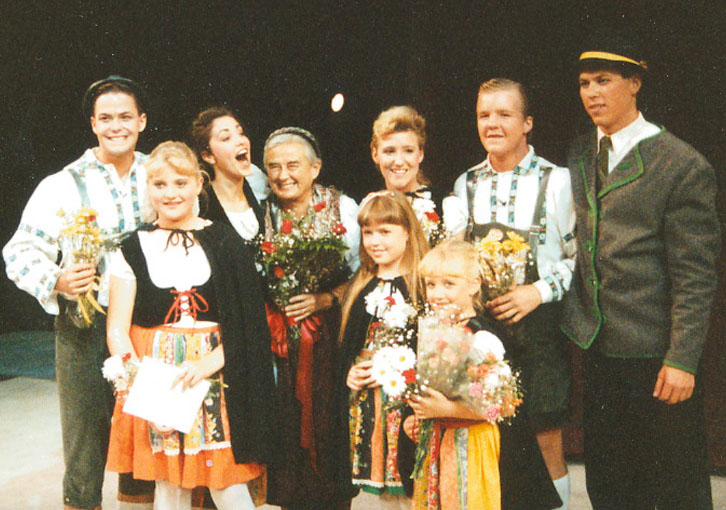 """The cast of """"Sound of Music"""" with Maria Von Trapp at Vanguard University in 1990,"""