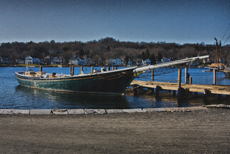 <center>Sloop  <br>I opted for a painting effect for this sloop.  The canvas texture effect softened what was otherwise a pretty harsh image. <br><br>Mystic Seaport - 18 December, 2011<br>SNE Spur of the Moment Meetup Group</center>