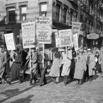 15 Nov 1938 --- Original caption: 11/15/1938-New York, NY: Some of the hundreds who attended an anti-Nazi meeting in New York City's garment and fur district today, November 15.  Signs carri ...