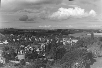 Top right Newent's old school, sawmills crane and Glebe Close to left.