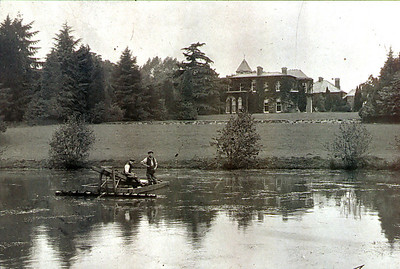 Newent lake when it was part of Newent court. Here the lake is being dredged with the help of a Traction Engine.