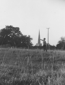 Brother Neil in the fields above Church street pushing the Spire
