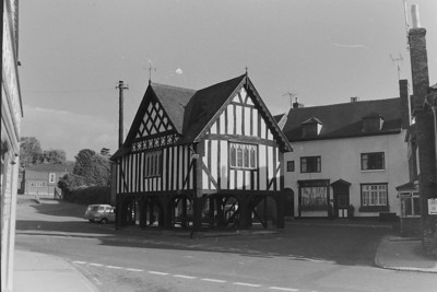 Newent Market House, with the Memorial hall in the background