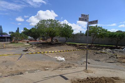 One of the main intersections of North Bundaberg, now with a crater about 6 feet deep.