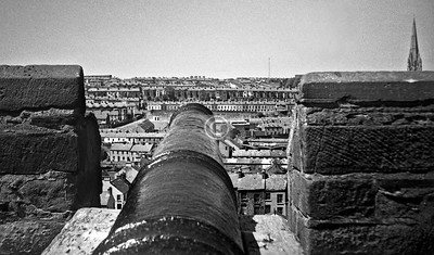 On Derry's walls, looking northwest towards the Creggan, with the spire of St Eugene's RC Cathedral.