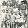 7. From back left, Betty, Grandma Barrett, Darlene Bonham, Lorene. in front from left, Janet, John Clinton, Russell, Eloise and Becky. about 1946