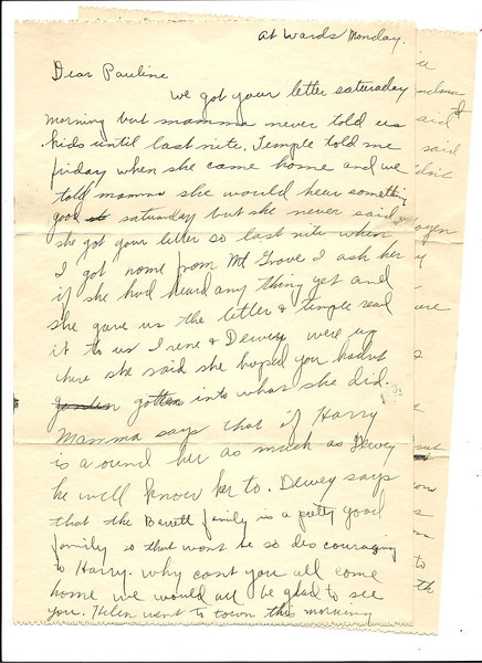 1. March 2012, while preparing a book on Family Letters, Donna sent me a treasure of stuff. Mostly old pictures, but this Oct 8, 1928 letter is wonderful. Maxine, back in West Plains, was writing to her sister Pauline who had just married 4 days earlier and was living in Kansas City.