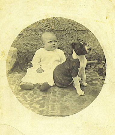 1. Mary Elizabeth Barrett with the family dog, Bob. Mary was born September 13, 1916.