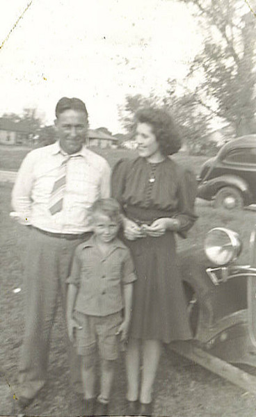 Sam, Wanna Mai and little Wayne about 1940. Sam was born May 27, 1910 and died December 25, 1969. He married Wanna Mai on July 11, 1931 and Wayne was born Feb 6, 1934. He died about 2005. Wanna Mai died about 2006.