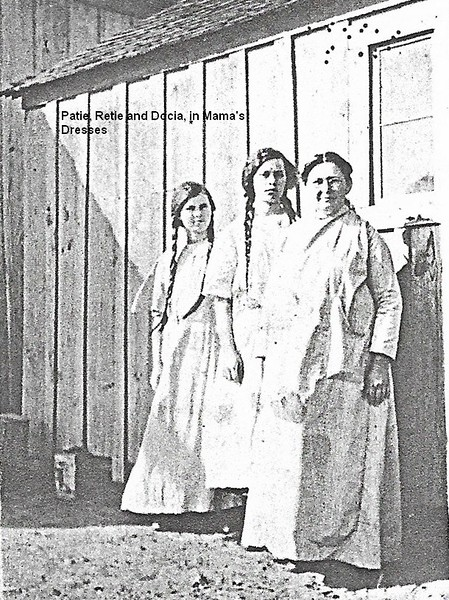 1.  I HAVE GATHERED MANY OF THESE PICS OF RETIE, PATIE AND OTHERS BECAUSE THERE ARE A COUPLE OF UN-IDENTIFIED GIRLS IN SOME OF THE OLD FAMILY PHOTOS, THAT I WISH I COULD NAME. I'VE GATHERED PRETTY MUCH MOST OF ANYTHING I CAN ON PATIE AND RETIE IN THIS GALLERY, TO TRY AND SORT THINGS OUT.<br /> <br /> Retie Celia Harris, a daughter of Docia Pyron and J.D. Harris, was born on Nov 3, 1898. Her sister Margie Patie was born Sept 4, 1900. When they were still young girls, they moved to Texas, probably in Oct 1904. In their teenage years they were very close to their Uncle Orvil P. Pyron and we have a great many old pics of them together. Unfortunately, I don't have any of the originals, just xerox copies. Orvil owned a camera and loved to take photos.