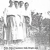 2. In the summer of 1917 some of the Harris family, including Patie, Retie and their mother Docia, returned to McNairy County, Tennessee for a visit. We have many pictures of that time when they gathered, either at Docia's Uncle James Calvin Pyron's house or at Shiloh park. This picture was taken during that period. Edna Comer (1896-1976) was married to their cousin Edgar Copeland. Edgar's mother was Celia Jane Pyron, a sister to Docia. Sally Wright was another sister to Docia.  The plaid skirt worn by Retie is often the best way to identify her in many of this series of photos; the same is usually true for Patie's solid skirt.