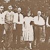 32. James Calvin's family, from left, JQ, Isaac, Grover, Flora, Wm Allen and father James Calvin Pyron.