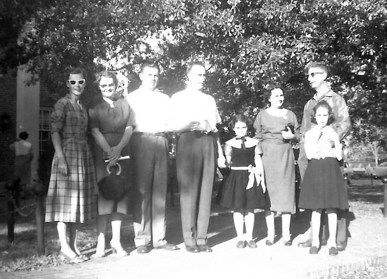 the lineup. Mom, Maxine and James Raines, Dad, the Nelsons: Nancy, Geraldine, Brady and Jerre Kay. October 1956