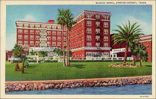 """4c.  <br /> <br /> NuecesHotel; httpsen.wikipedia.orgwikiNueces_Hotel; completed; in; 1919.; Operated; as; hotel; until; 1967; when; it; became; a; retirement; home.; Demolished; 1971; after; being; badly; damaged; the; Celia; hurricane; of; 1967.; Historical; marker; on; wite; now.<br /> <br /> <br /> <br /> <br /> <br /> <br /> <br /> <br /> Nueces Hotel:  <br /> <br /> <a href=""""https://en.wikipedia.org/wiki/Nueces_Hotel"""">https://en.wikipedia.org/wiki/Nueces_Hotel</a><br /> <br /> HISTORICAL MARKER: <br /> <a href=""""http://www.stxmaps.com/go/texas-historical-marker-site-of-the-nueces-hotel.html"""">http://www.stxmaps.com/go/texas-historical-marker-site-of-the-nueces-hotel.html</a>"""