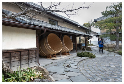 This was a little coffee shop located in front of the sake factory.  These large tubs were used in the process of making sake.