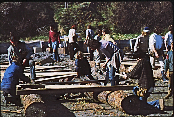 3*Mon, Jan 18, 1971<br /> People: workers<br /> Subject: building float<br /> Place: Bolinas, Marin Co<br /> Activity: <br /> Comments: