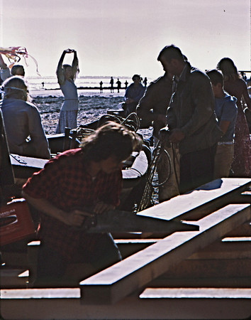 4*Mon, Jan 18, 1971<br /> People: dancer, workers<br /> Subject: saw<br /> Place: Bolinas Lagoon<br /> Activity: <br /> Comments: