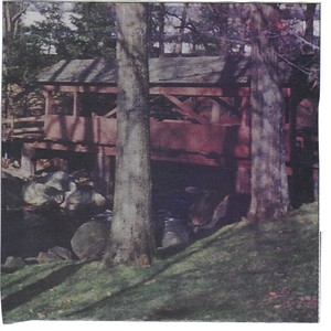 """Old MacDonald's Farm Covered Bridge - """"The wooden footbridge that takes employees at River Park from the parking lot to the office and back again is the only part of the original Old MacDonald's Farm"""" - Darien Times, May 5, 2005 Photo courtesy of Tom Kessel"""