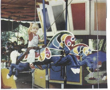 """Old MacDonald's Farm Carousel- """"Old Fashioned Fun-Old MacDonald's Farm had severl classic amusement park rides, including a 1896 Parker carousel with wooden horses, seen here in 1977""""- Darien Times- May 5, 2005"""